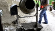 Industrial concrete mixer. video