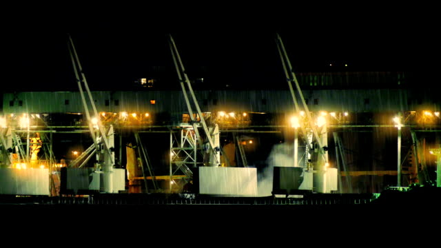 Industrial Cranes At Night In The Rain video