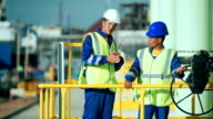 Industrial engineer and worker discussing in factory video