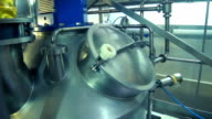 Industrial equipment at dairy factory. Production of cheese. Food production. Manufacture of dairy products. Food processing plant video