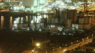 Industrial harbour night time lapse video