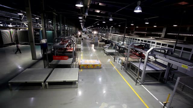 Industrial interior, modern factory interior, Electrical Automated Guided Vehicles Platform video
