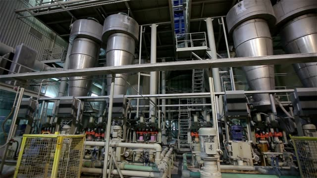 Industrial interior, modern factory, Interior of a modern factory, processing plant, panorama video