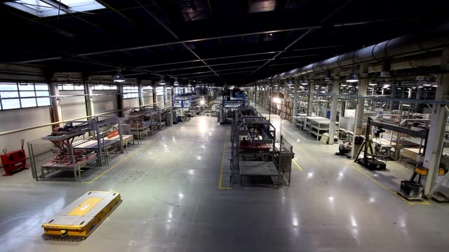 Industrial interior, production of ceramic tiles, modern factory interior, Electrical Automated Guided Vehicles Platform video