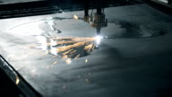 Industrial Laser cutting processing manufacture technology of flat sheet metal steel material with sparks video
