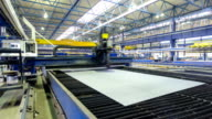 Industrial Laser cutting processing manufacture technology of flat sheet metal steel material with sparks timelapse hyperlapse video