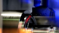 industrial lathe works metal with precision video