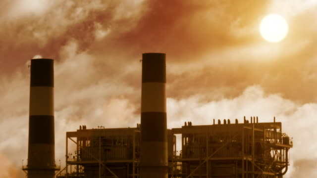 Industrial Plant at Sunset video