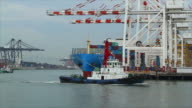 Industrial port with commercial containers. video