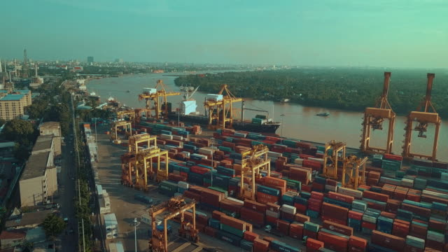 Industrial port with containers,Aerial view video