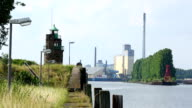 Industrial port with lighthouse in Bremen video