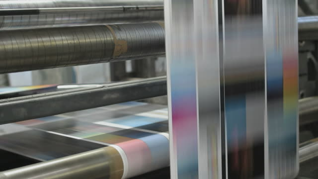 Industrial printing of leaflets and magazines at a rotary press factory video