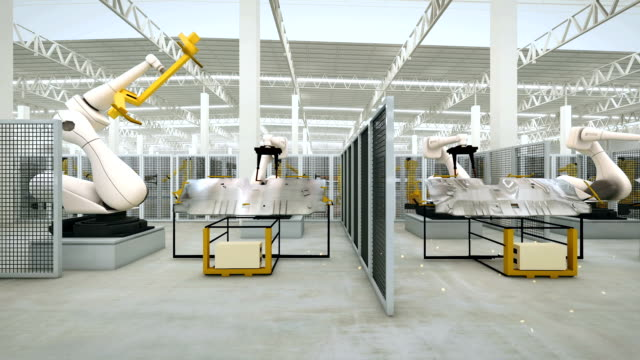 Industrial Robot active in factory video