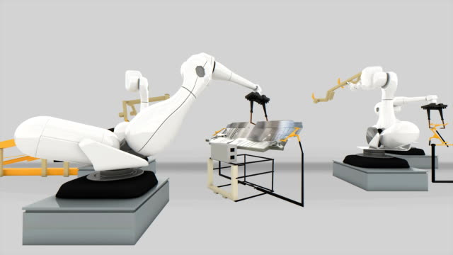 Industrial Robot arm active in factory. video