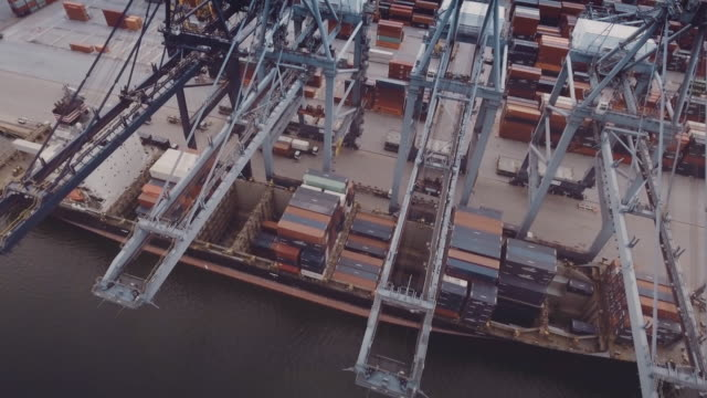 Industrial Ship at Sea Port : Aerial video