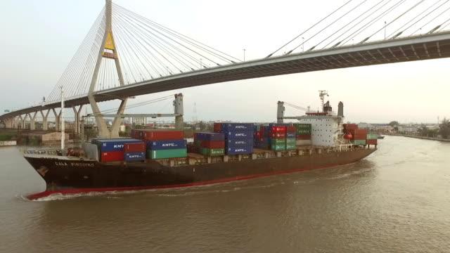 Industrial shipping port in Bangkok, Thailand video