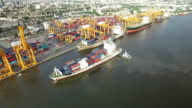 Industrial shipping port in Bangkok, Thailand video