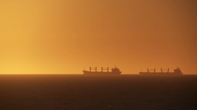 HD: Industrial Ships At Sunset video