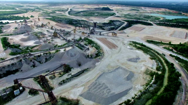 Industrial Stone Mining Plant Aerial View in 4K video