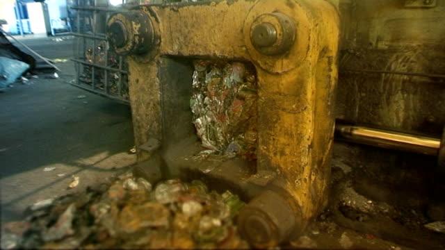 Industrial video - machinery. Bale press. Aluminium UBC recycling. video