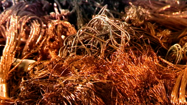Industrial video - materials. Recycling or recovery. Scrap copper 3 video