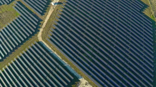 AERIAL industrial view Photovoltaic solar panels video