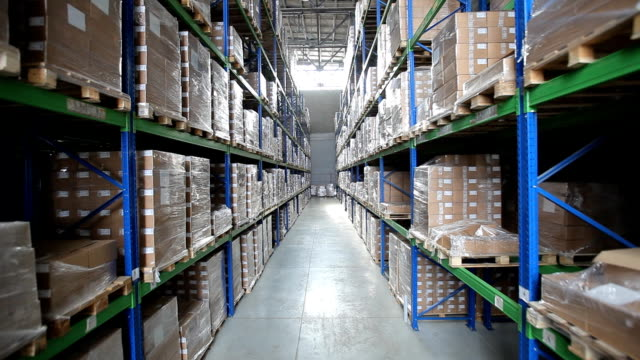Industrial warehouse with boxes video