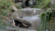Industrial waste water down to drainage canals video