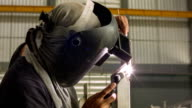 HD DOLLY CU : Industrial welding video