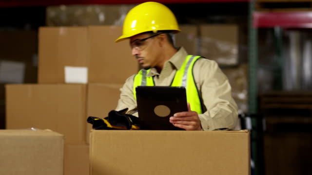 Industry worker using digital tablet in shipping warehouse video