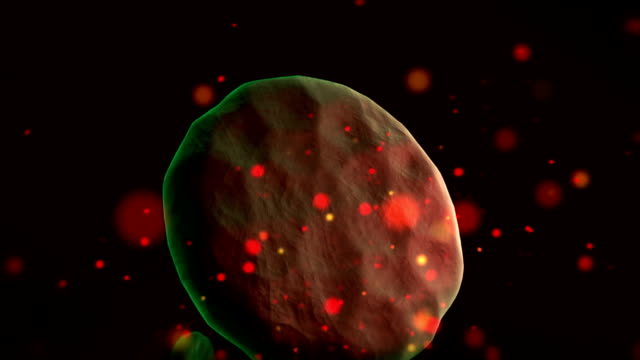 Infection of blood cells by virus, close up video