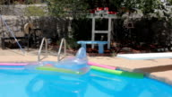 Inflatable Pool Raft and Noodles Float in a Swimming Pool video