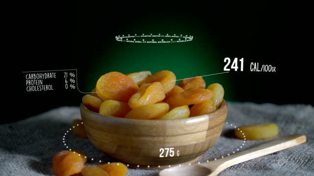 Infographic of Dried Apricot with vitamins, microelements minerals. Energy, calorie and component video