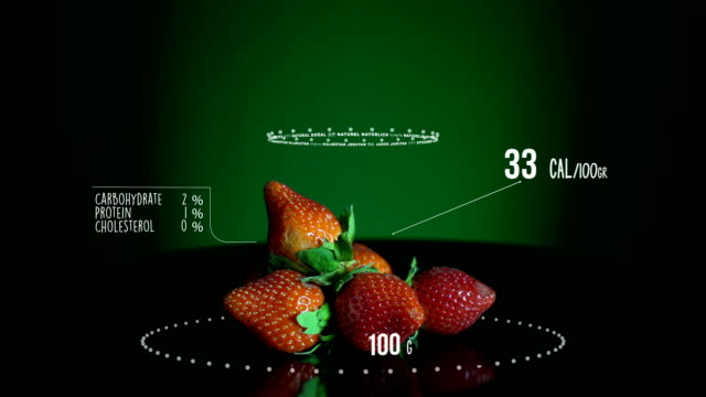 Infographic of Strawberries with vitamins, microelements minerals. Energy, calorie and component video
