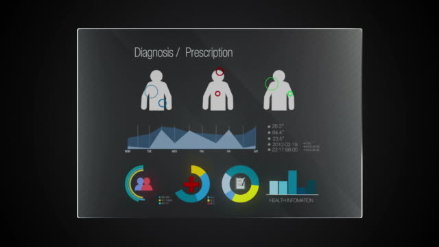 Information graphic technology panel 'Diagnosis' user interface digital display video