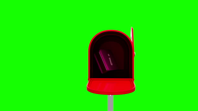 Information symbol in the mailbox on green background video