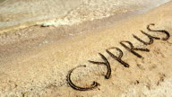 Inscription on sand Cyprus. video