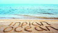 Inscription on sand the Indian Ocean. video