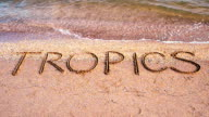 Inscription on sand tropics. video