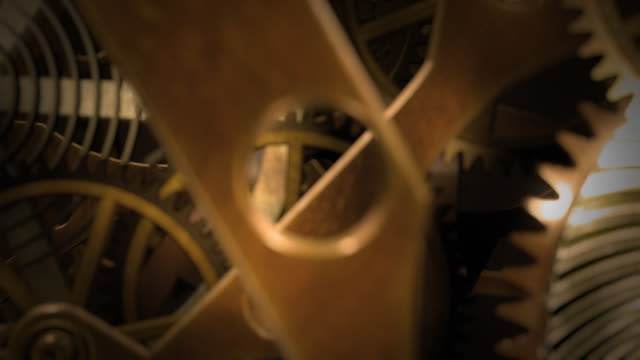 Inside a clock, infinite zoom into the clockwork. video