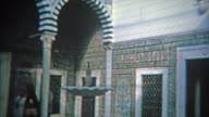RABAT, MOROCCO 1972: Inside blue tile work of a Moroccan mosque tourism site. video