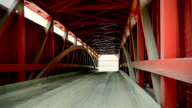 Inside of the covered bridge. Close up video