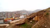 Inside Ruins of Urfa Castle on Background Slum Snow and Rain video