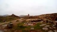 Inside Ruins of Urfa Castle Snow and Rain video