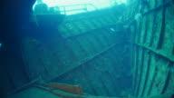 Inside the Boga Shipwreck undersea, sun light, Bali (4K) video