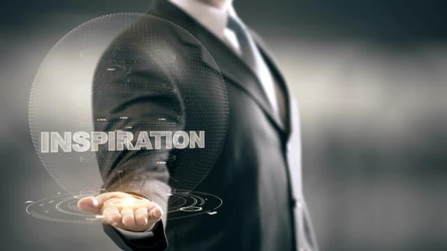 Inspiration with bulb hologram businessman concept video