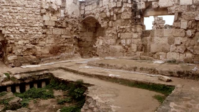 Interier of Roman baths ruins of antique town Salamis east Cyprus Famagusta video