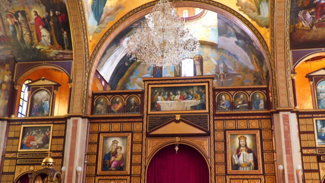 Interior elements in the Coptic Christian Church in Egypt video