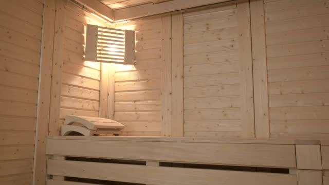Interior inside of wooden sauna video