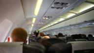 Interior of a crowded Aeroplane. HD, NTSC, PAL video
